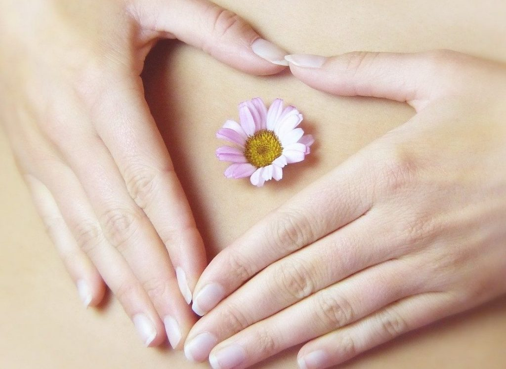 Solar Plexus, Third Chakra, Energy Centers, Navel, Belly Button, Flower, Body, Heart Shape with Hands,