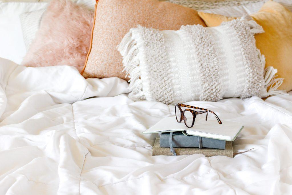 Gratitude journaling in bed